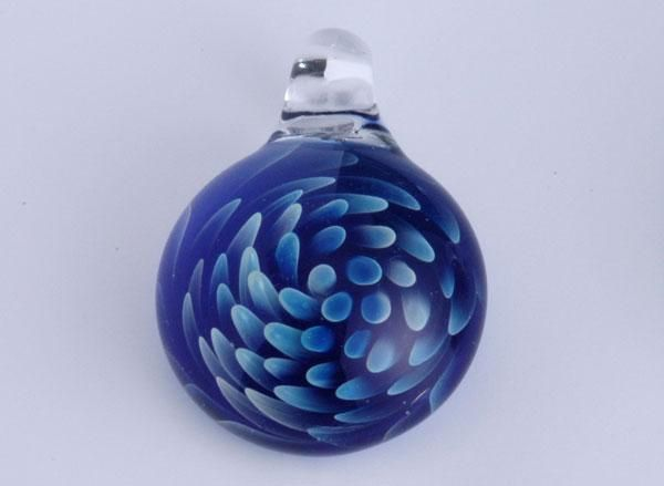 blue glass beads pendant white fingers