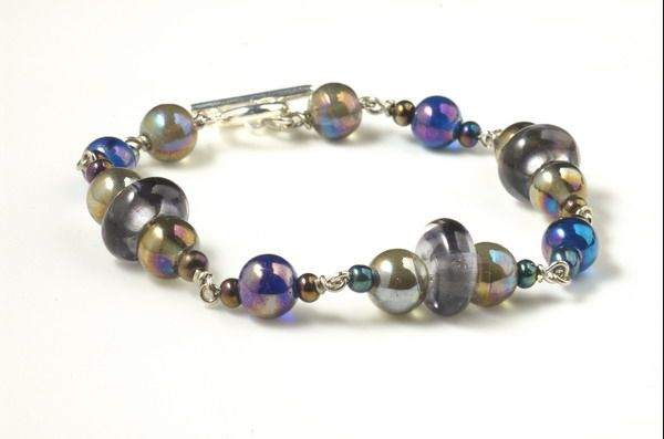 jewelry bracelet glass beads macro house of indigo willow chandler