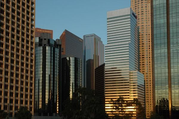 los angeles downtown westin hotel banks buildings sunset