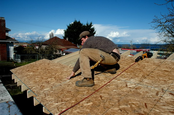 roofing worker building house nailer osb sheathing