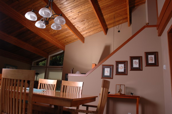 wood beams rafters house living room departure bay